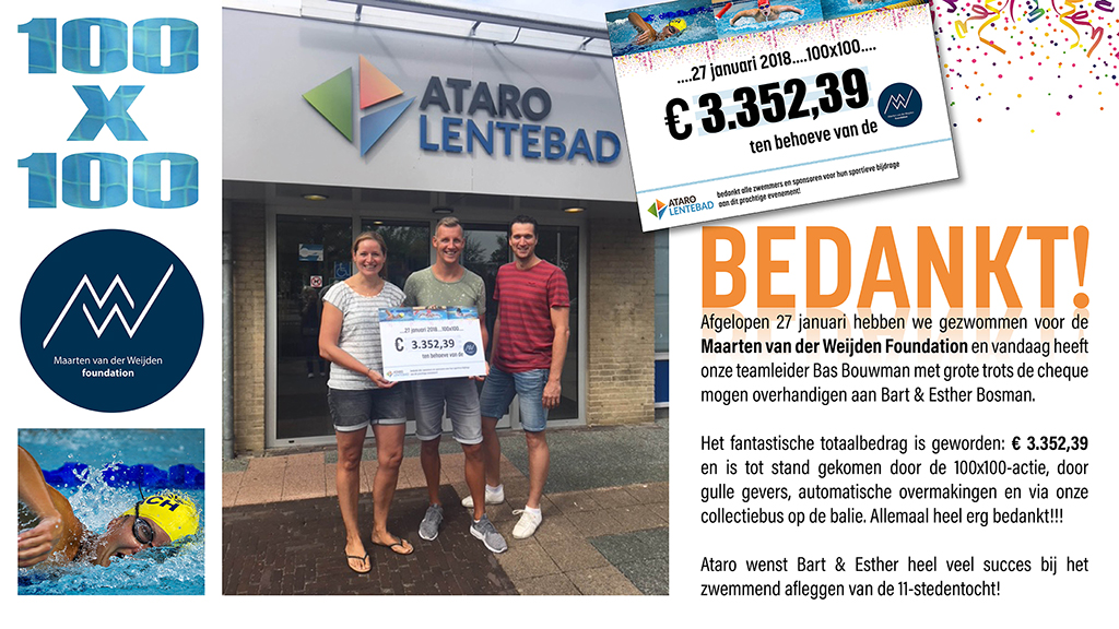 Uitreiking cheque 100x100, Maarten van der Weijden Foundation, Ataro Lentebad