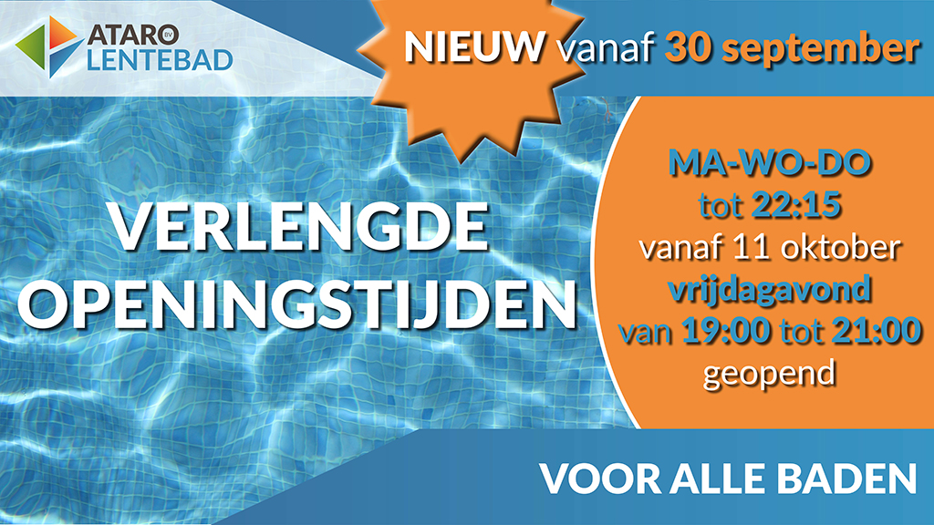 Verlengde openingstijden Lentebad zwembad per 30 september 2019